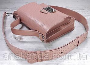 573 Сумка женская натуральная кожа, розовая пудровая с тиснением Сумка пудра Сумка пудровая, фото 2