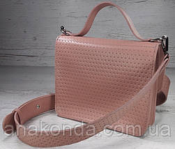 573 Сумка женская натуральная кожа, розовая пудровая с тиснением Сумка пудра Сумка пудровая, фото 3