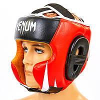 Шлем боксерский в мексиканском стиле кожаный VENUM BO-6652-R