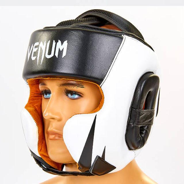 Шлем боксерский кожаный VENUM BO-6652-BKW