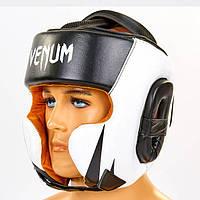 Шлем боксерский кожаный VENUM BO-6652-BKW, фото 1