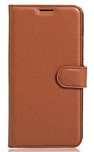 Кожаный чехол-книжка для Huawei P9 Lite коричневый