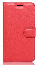 Кожаный чехол-книжка для Huawei P9 Lite красный