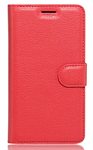 Кожаный чехол-книжка для Xiaomi Redmi Go красный