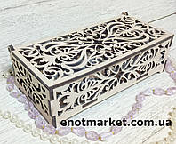 Шкатулка, органайзер, конфетница деревянная прямоугольная резная, фото 1