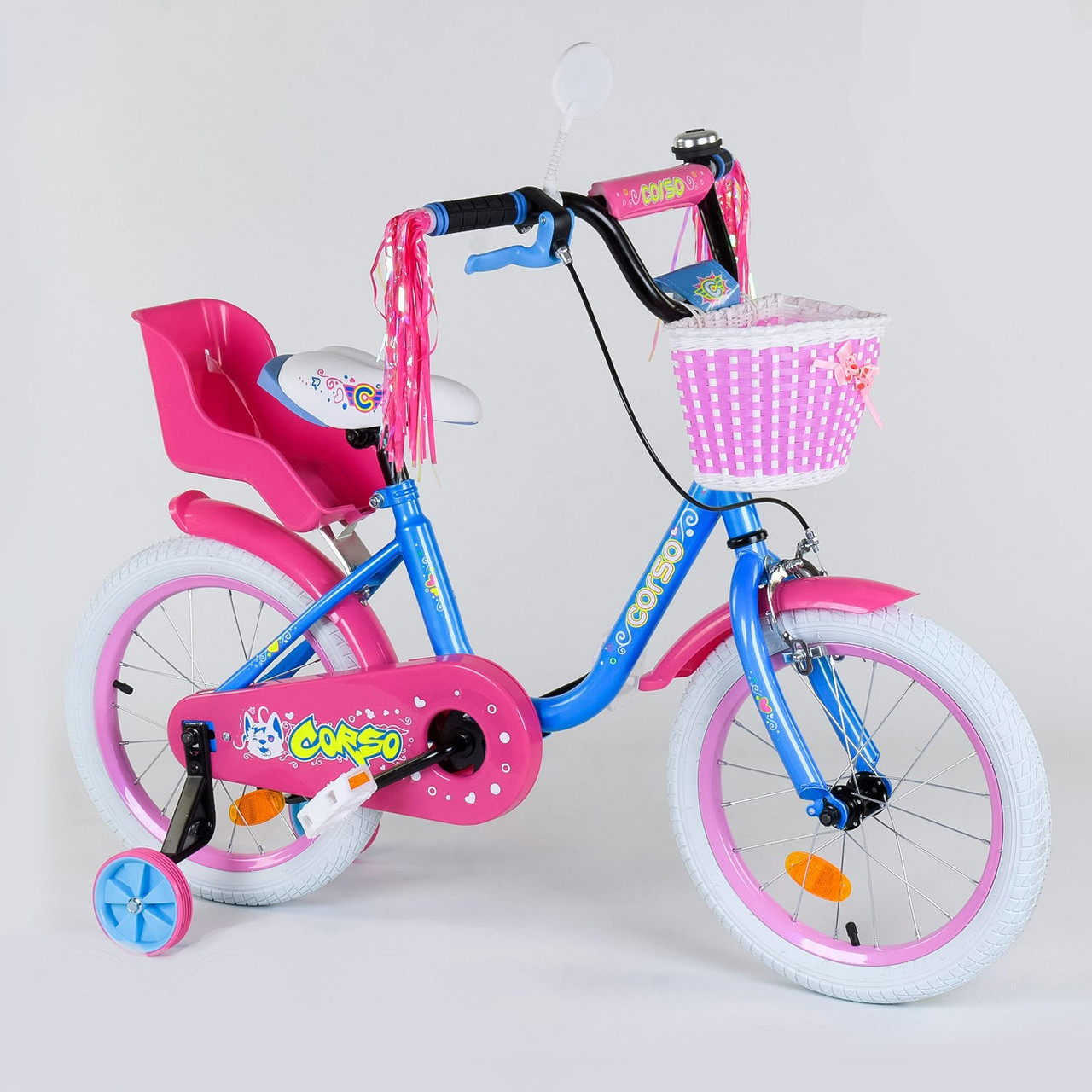 """Велосипед 16"""" дюймов 2-х колёсный 1626 """"CORSO"""", новый ручной тормоз, звоночек, кресло для куклы, корзинка, доп"""