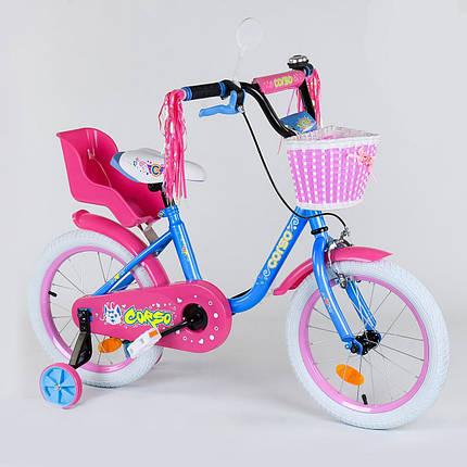 """Велосипед 16"""" дюймов 2-х колёсный 1626 """"CORSO"""", новый ручной тормоз, звоночек, кресло для куклы, корзинка, доп, фото 2"""