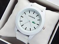 Кварцові наручні годинники Lacoste білого кольору з білим циферблатом на силіконовому ремінці, фото 1