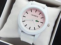 Кварцові наручні годинники Lacoste білого кольору з рожевим циферблатом на силіконовому ремінці, фото 1