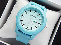 Кварцевые наручные часы Lacoste голубого цвета с голубым циферблатом на силиконовом ремешке, фото 1