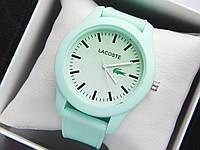 Кварцові наручні годинники Lacoste бірюзового кольору з бірюзовим циферблатом на силіконовому ремінці, фото 1