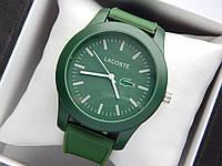 Кварцові наручні годинники Lacoste зеленого кольору з зеленим циферблатом на силіконовому ремінці, фото 1