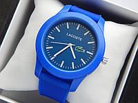 Кварцевые наручные часы Lacoste синего цвета с синим циферблатом на силиконовом ремешке, фото 1