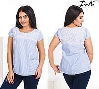 Женская блузка в полоску с гипюром №4137 (р.50-56) голубой
