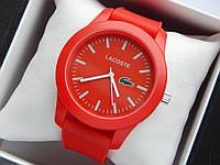 Кварцові наручні годинники Lacoste червоного кольору з червоним циферблатом на силіконовому ремінці, фото 1
