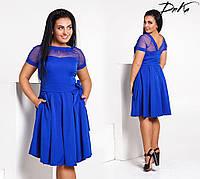 Жіноче літнє плаття з поясом і сіткою №473 (р. 42-52) електрик