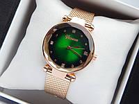 Кварцевые наручные часы Geneva цвета розовое золото с зеленым циферблатом на силиконовом ремешке, со стразами, фото 1