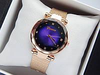 Кварцові наручні годинники Geneva кольору рожеве золото з фіолетовим циферблатом на силіконовому ремінці, фото 1