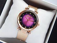 Кварцові наручні годинники Geneva кольору рожеве золото з бузковим циферблатом на силіконовому ремінці,зі стразів, фото 1