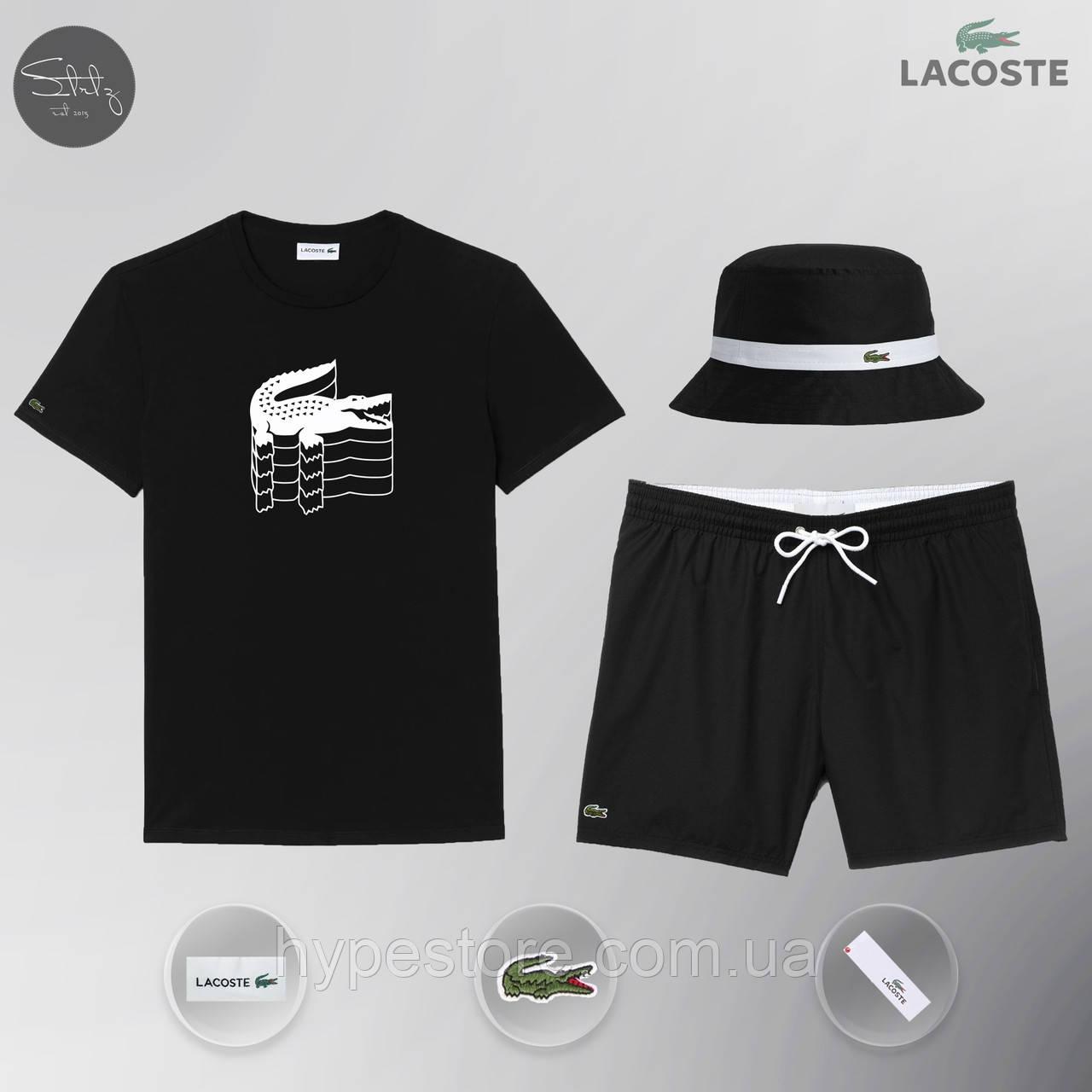 Мужской спортивный костюм лето, пляжный комплект Lacoste Flesh, шорты+футболка, панама, ТОП-Реплика (черный)