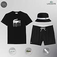 Мужской спортивный костюм лето, пляжный комплект Lacoste Flesh, шорты+футболка, панама, ТОП-Реплика (черный), фото 1
