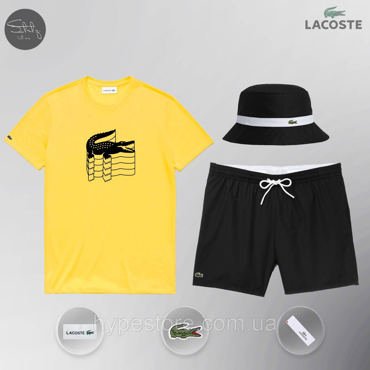Мужской спортивный костюм лето, пляжный комплект Lacoste Flesh, шорты+футболка, панама, Реплика