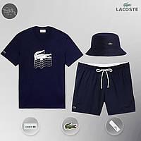 Мужской спортивный костюм лето, пляжный комплект Lacoste Flesh, шорты+футболка, панама, Реплика (темно-синий), фото 1