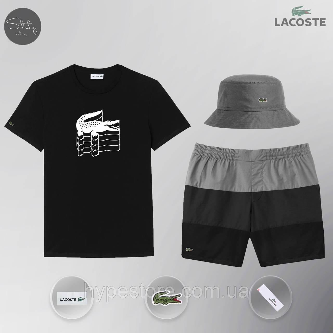 Мужской спортивный костюм лето, пляжный комплект Lacoste Flesh, футболка, панама, ТОП-Реплика (черный)