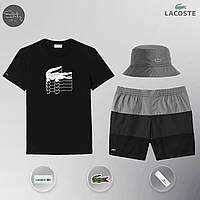 Мужской спортивный костюм лето, пляжный комплект Lacoste Flesh, футболка, панама, ТОП-Реплика (черный), фото 1