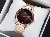 Кварцевые наручные часы Geneva цвета розовое золото,коричневый циферблат, на силиконовом ремешке,со стразами, фото 1
