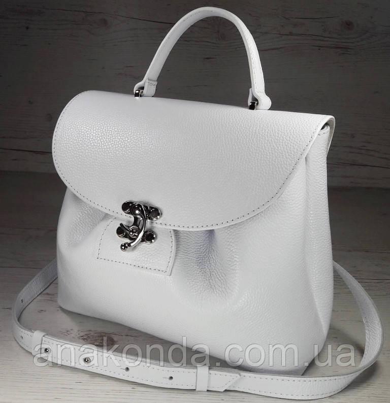 550 Натуральная кожа, Сумка женская белая светлая Кожаная сумка поворотном замке Белая кожаная сумка кожаная