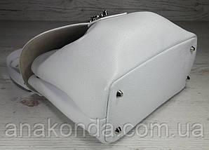 550 Натуральная кожа, Сумка женская белая светлая Кожаная сумка поворотном замке Белая кожаная сумка кожаная, фото 2