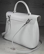 550 Натуральная кожа, Сумка женская белая светлая Кожаная сумка поворотном замке Белая кожаная сумка кожаная, фото 3
