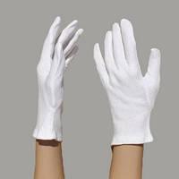 """Перчатки для официантов белые хлопчатобумажные, размер """"М"""" женская рука"""