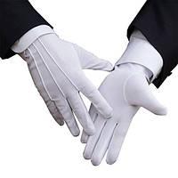 Перчатки белые для официантов, нейлоновые размер M (женская рука)
