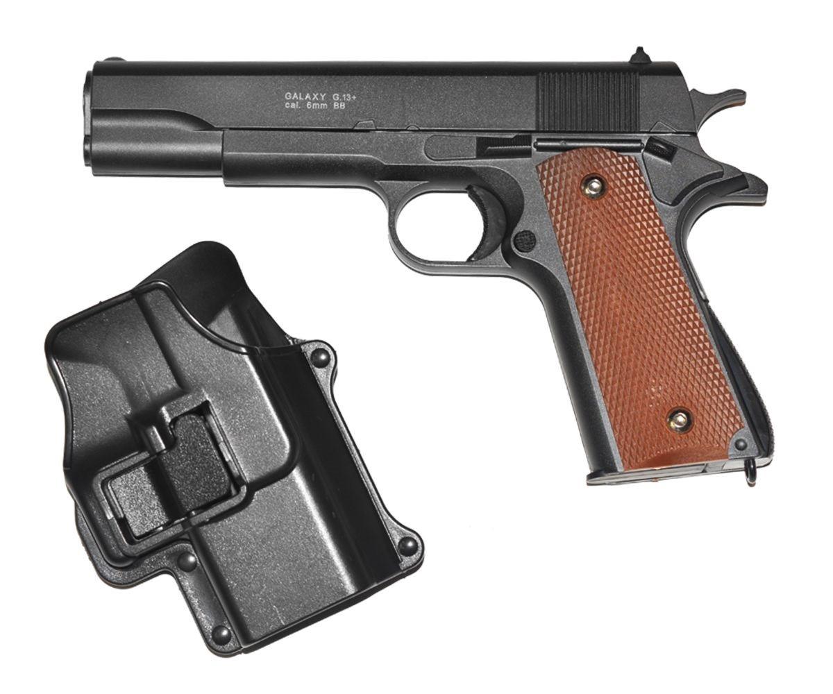 Страйкбольный пистолет Galaxy G13+ (Colt 1911) с кобурой