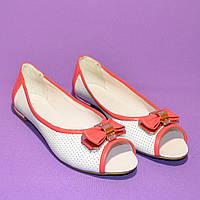 Женские летние балетки из перфорированной кожи с открытым носком, фото 1