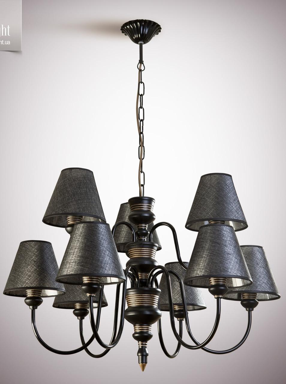 Люстра для зала, гостиной, 9-ти ламповая с абажурами  14409-1