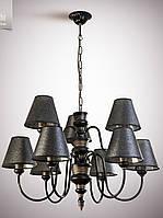 Люстра для зала, гостиной, 9-ти ламповая с абажурами