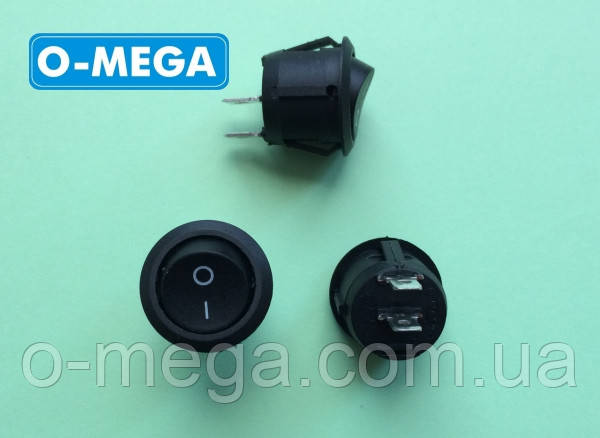 Кнопочный выключатель, Клавиша круглая, 2 контакта с фиксацией, диаметр 20,3 мм.