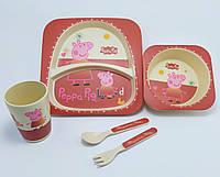 Набор детской бамбуковой посуды  свинка пеппа  эко посуда