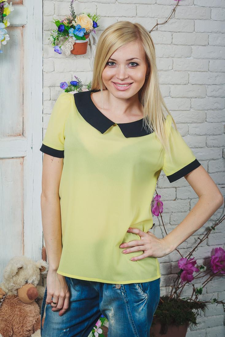 Блуза женская шифон желтая