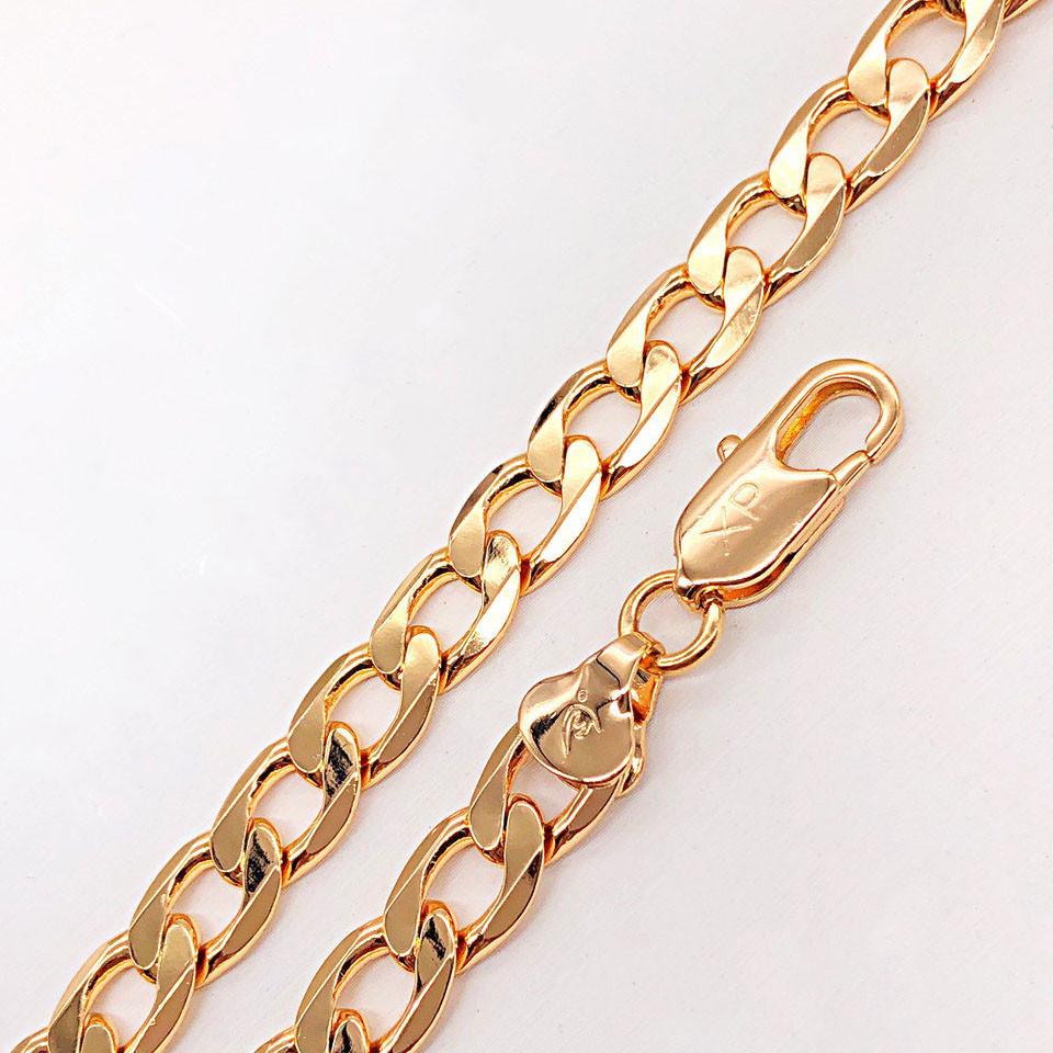 """Браслет Xuping Jewelry 20 см х 8 мм """"Панцирный плоский"""" медицинское золото, позолота 18К. А/В 3381"""