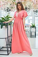 Платье женское макси Льняное коралловое