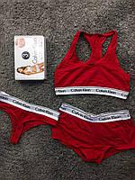 Комплект белья - в стиле Calvin Klein женский тройка (топ+стринги+шорты) Красный