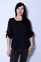 Блуза женская рукав сетка темно-синяя