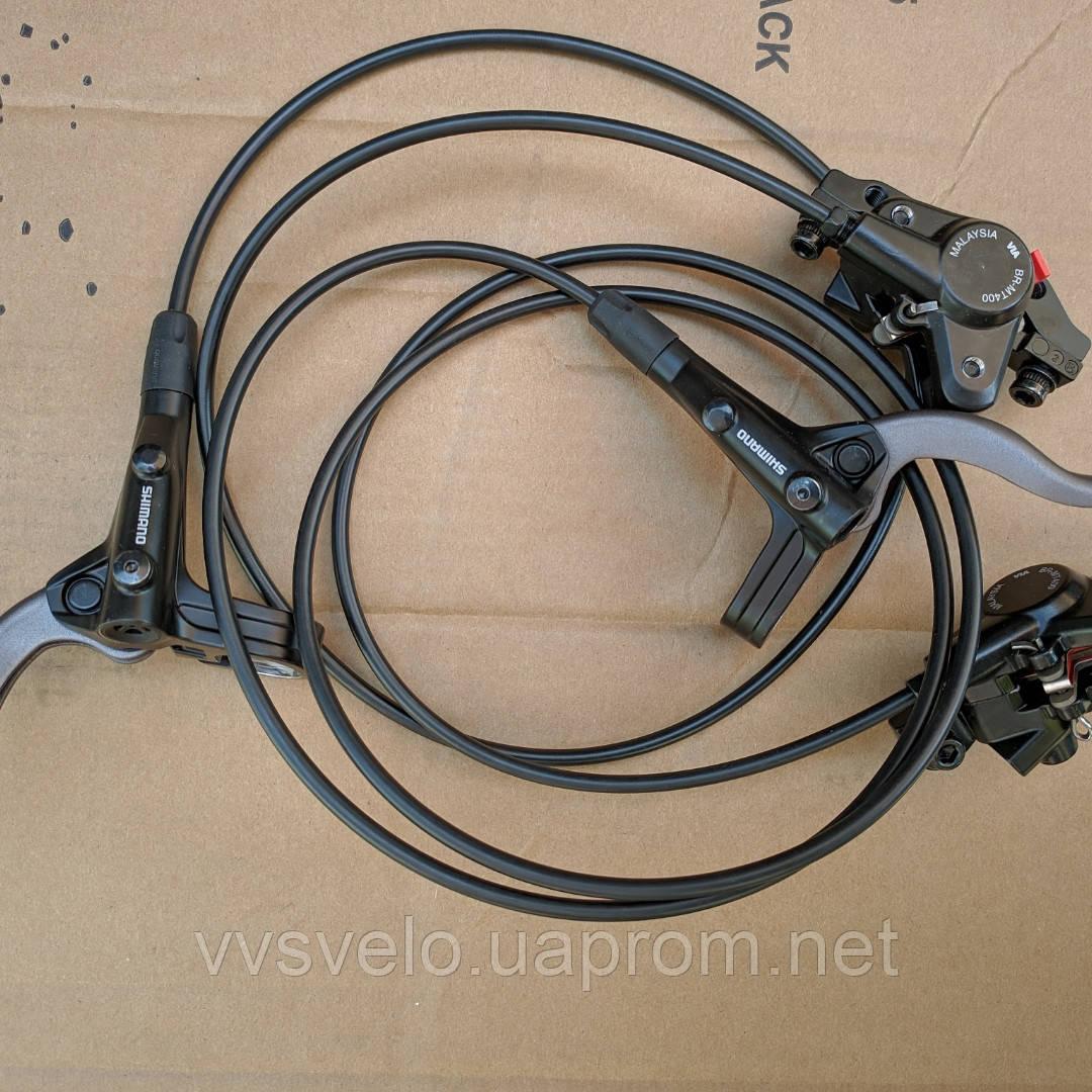 Тормоза дисковые гидравлические передний + задний  + (адаптеры F180/R160мм), черные Shimano BR-MT400 + BL пара, фото 1