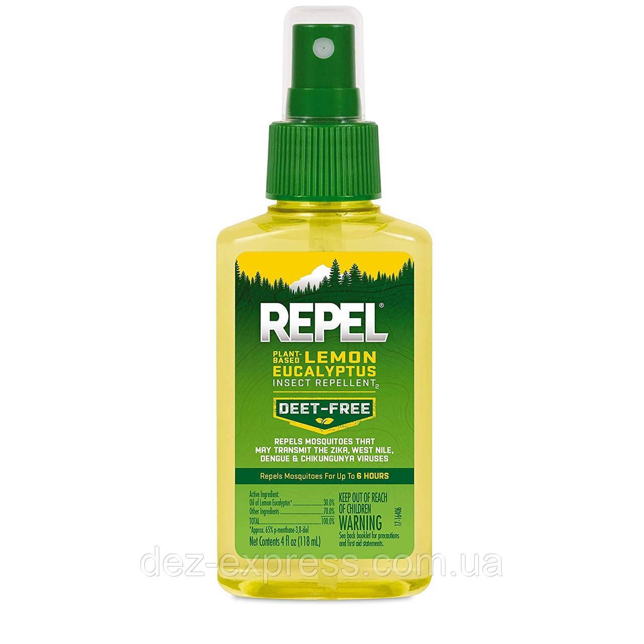Спрей от комаров REPEL Lemon Eucalyptus Repellent 30%. Сделано в US.