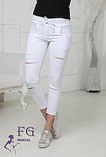 """Трендовые женские укороченные брюки-леггинсы на резинке с разрезами спереди """"Next"""" хаки, фото 2"""