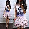 """Сукня """"Лялька"""" декорована нашивками з намистинками, тканина: костюмка люкс. Розмір: 42-44. Різні кольори (6610), фото 2"""